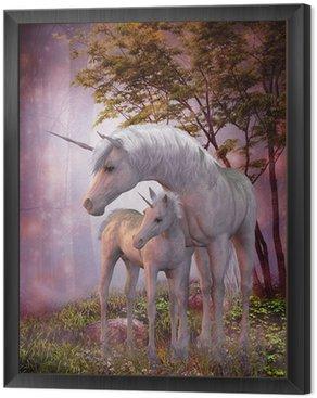 Tavla i Ram Unicorn Mare och föl