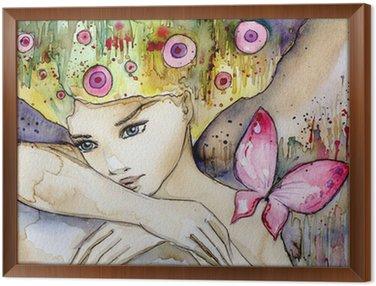 Tavla i Ram Vacker flicka med fjäril
