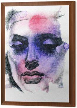 Tavla i Ram Vacker kvinna. Handmålade modeillustration
