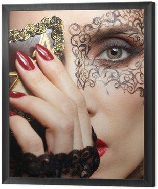Tavla i Ram Vacker kvinna i mask