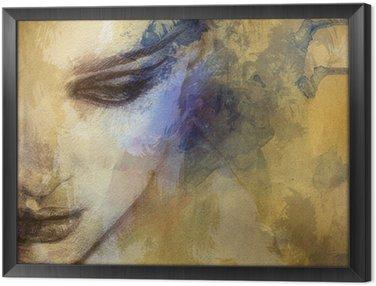 Tavla i Ram Vacker kvinna inför. akvarell illustration