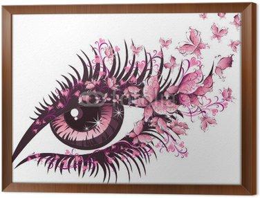 Tavla i Ram Vacker kvinnlig öga med fjärilar