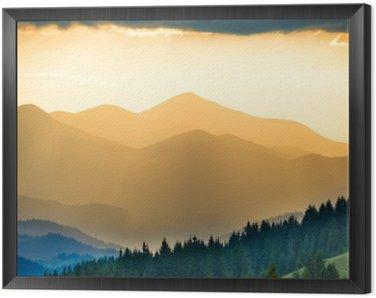 Tavla i Ram Vacker solnedgång i fjällen