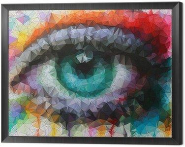 Tavla i Ram Vackra ögon i geometrisk styling abstrakt geometrisk bakgrund