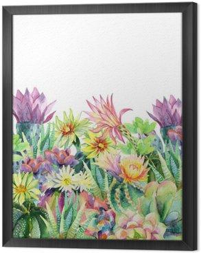 Tavla i Ram Vattenfärg blommande kaktus bakgrund