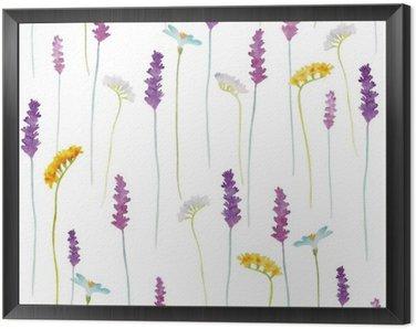 Tavla i Ram Vattenfärg blommor mönster