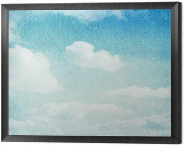 Tavla i Ram Vattenfärg moln och himmel bakgrund