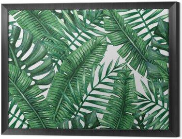 Tavla i Ram Vattenfärg tropisk palmblad seamless. Vektor illustration.