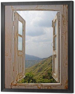 Tavla i Ram View Från en Old White Window