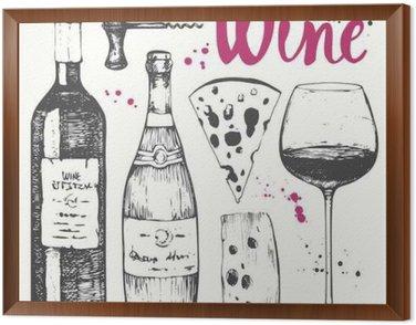 Tavla i Ram Vin set. Vinframställning produkter i skiss stil.
