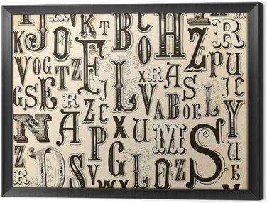 Tavla i Ram Vintage Alphabet bakgrund