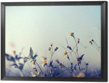 Tavla i Ram Vintage bild av naturen bakgrund med vilda blommor och växter