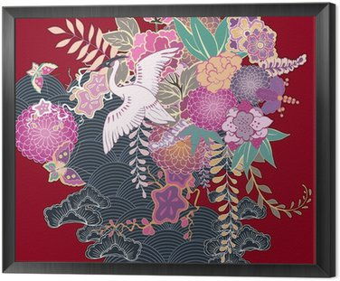 Tavla i Ram Vintage kimono blomstermotiv