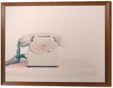 Tavla i Ram Vintage rosa telefon över böcker