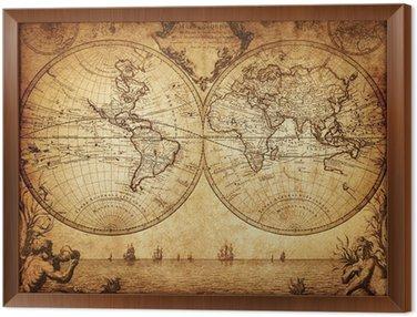 Tavla i Ram Vintage världskartan 1733