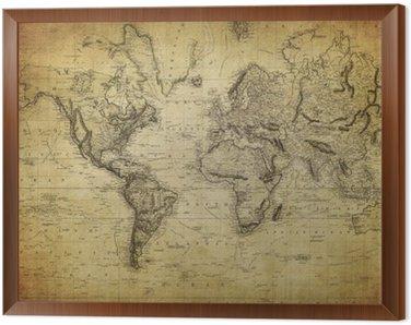 Tavla i Ram Vintage världskartan 1814 ..