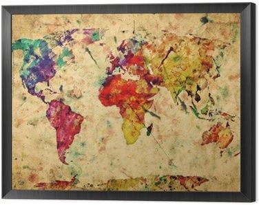 Tavla i Ram Vintage världskartan. Colorful färg, akvarell på grungepapper