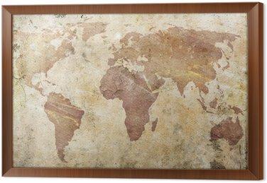 Tavla i Ram Vintage världskartan.