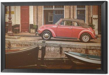 Tavla i Ram Visa på en gammal kanal i Amsterdam