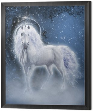 Tavla i Ram Vit Unicorn 3d datorgrafik