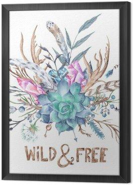 Tavla i Ram Wild och fritt Boho akvarell Illustration