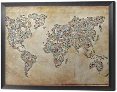 Tavla i Ram World Map bilder, vintagestruktur