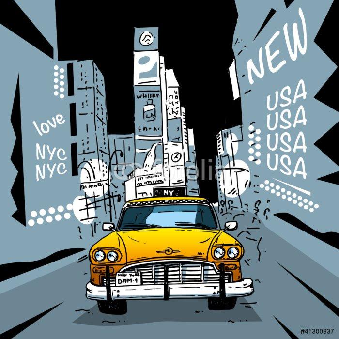 Fototapeta Vinylowa Time Square New York City Taxi -