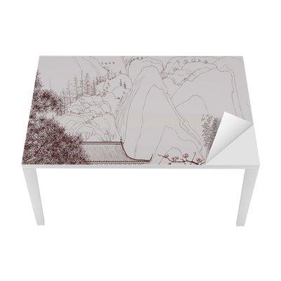 Tischaufkleber und Schreibtischaufkleber Chinesische Landschaft