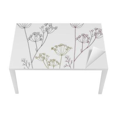 Tischaufkleber und Schreibtischaufkleber Dill oder Fenchel Blumen und Blättern.