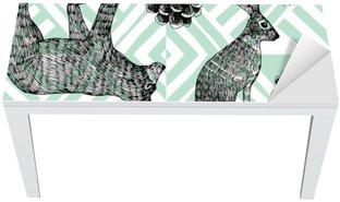 Tischaufkleber und Schreibtischaufkleber Hand gezeichnet Winter trendy Muster, geometrische Hintergrund