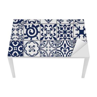 Tischaufkleber und Schreibtischaufkleber Marokkanischen Fliesen Nahtlose Muster A