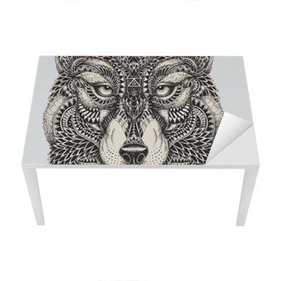Tischaufkleber und Schreibtischaufkleber Sehr detaillierte abstrakte Wolf illustration