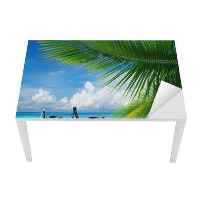Tischaufkleber und Schreibtischaufkleber Steg mit Blick auf das tropische Meer