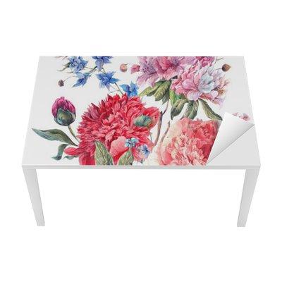 Tischaufkleber und Schreibtischaufkleber Vintage Blumengruß-Karte mit blühendem Pfingstrosen