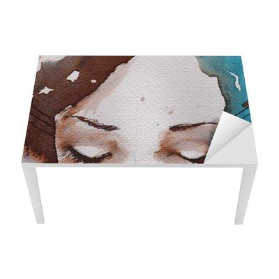 Tischaufkleber und Schreibtischaufkleber Winter, kalt portrait