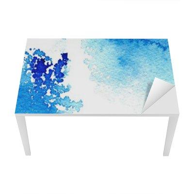 Tischaufkleber und Schreibtischaufkleber Zusammenfassung dunkelblau wässrig frame.Aquatic backdrop.Ink drawing.Watercolor Hand image.Wet splash.White Hintergrund gezeichnet.