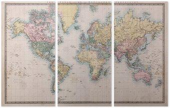 Tríptico Antiguo Mapa del mundo antiguo en Mercators Proyección