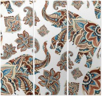 Tríptico Aquarela elefante étnica com elementos de paisley background.