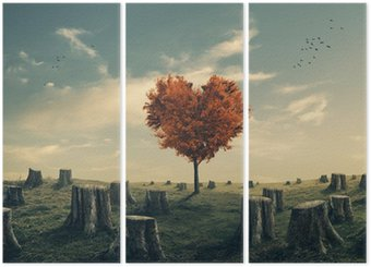 Tríptico Árvore em forma de coração na floresta desmatada