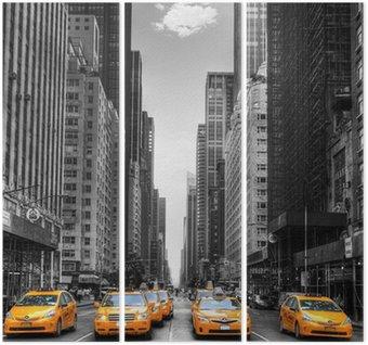 Tríptico Avenida de los taxis en Nueva York.