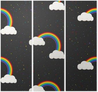 Tríptico Céu nocturno da fantasia garoto padrão sem emenda. Estrelas confetti, nuvens e menino do arco-íris papel de parede cinzento e design de tecido.