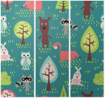 Tríptico Cute animals seamless pattern