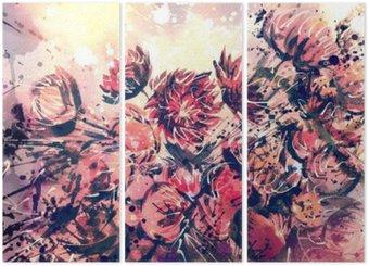 Tríptico Dibujo, acuarela del ramo de la flor de la paja