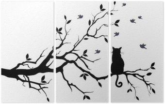 Tríptico Gato em uma árvore com pássaros, vetor
