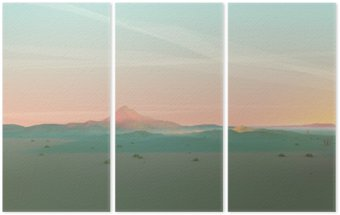 Tríptico Geometric Paisagem com gradiente de céu