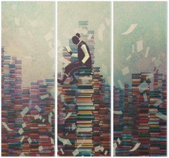 Tríptico Homem lendo o livro ao sentar-se na pilha dos livros, conceito conhecimento, pintura ilustração