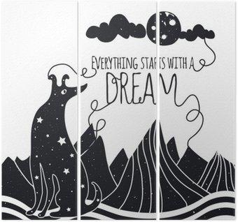 Tríptico Ilustração vetorial romântico bonito com o cão olhando para a lua. Tudo começa com um sonho. Estrelas, montanhas e nuvens.