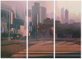 Tríptico Mujer solitaria de pie en el paso de peatones urbano, pintura ilustración