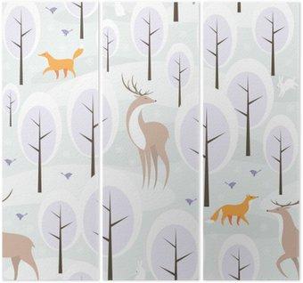 Tríptico Navidad sin patrón, con la imagen del bosque en invierno y los animales salvajes