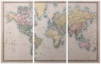 Tríptico Old Antique World Map on Mercators Projection